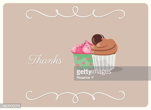 thank you card, design with two creamy cupcakes isolated : Vector Art