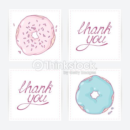 Thank You Cards With Hand Lettering Doodle Design For Donut Stock