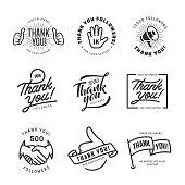 Thank you followers labels set. Monochrome stickers for social web. Vector vintage illustration.