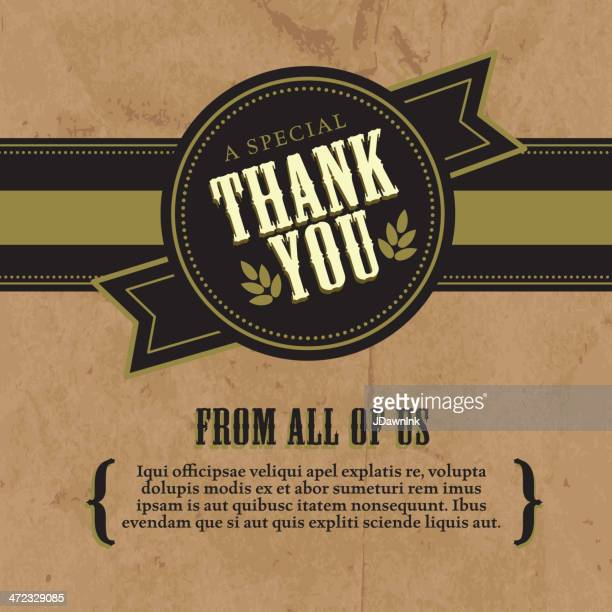Thank you greeting card design layout rustic craft paper background