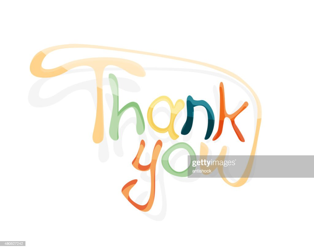Thank you hand lettering, calligraphy : Vector Art