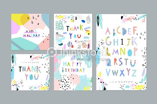 Thank You Happy Birthday Holiday Cards And Posters Vektorgrafik