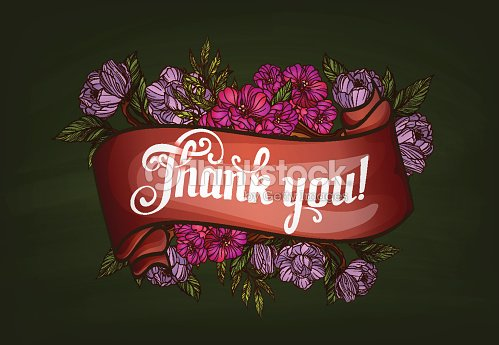 thank you lettering decorated with flowers poster template vector