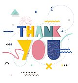 Thank you lettering hand. Hand-drawn poster with gratitude quote in retro style. Bright print, pattern, background, banner.
