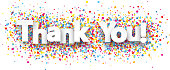 Thank you paper banner with color drops. Vector illustration.