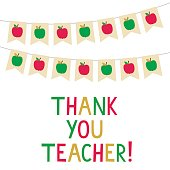 Thank You Teacher vector card, bunting banners with apples