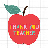 Thank you Teacher's Day vector card with an apple