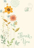 Vector vertical floral thank you card with butterfly.