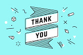 Thank You. Ribbon banner and drawing in line style with text thank you. Hand drawn design in geometry trendy style for thank you in Thanksgiving Day, greeting card, banner, poster. Vector Illustration