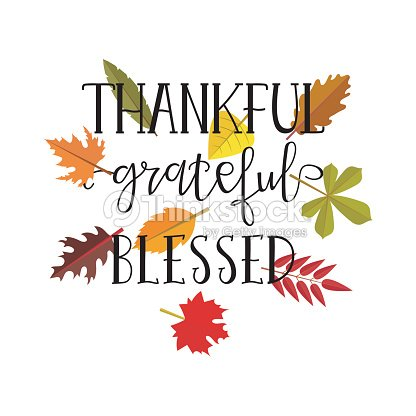 thankful grateful blessed simple lettering calligraphy postcard or