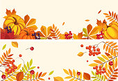 Thanksgiving background with space for text, horizontal banners with orange pumpkins, leaves of maple and rowan vector Illustration, web design
