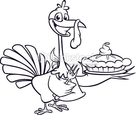 Dibujos Animados De Acción De Gracias Turquía Con Tenedor Y Pie ...