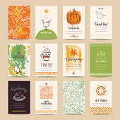 Thanksgiving congratulations poster, banner, invitation, greeting card, flyer, menu templates. Hand drawn vector collection with traditional Thanksgiving symbols, cute design elements, handwritten ink