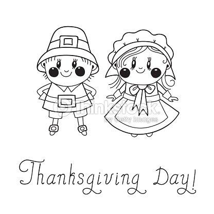 El Día De Acción De Gracias Niños Peregrino Pareja Arte vectorial ...