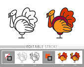 Turkey linear icon. Line without and with color fill. Editable stroke, fill, background. Simple outline sign. Web, print, logo, coloring book, page concept. Isolated vector illustration
