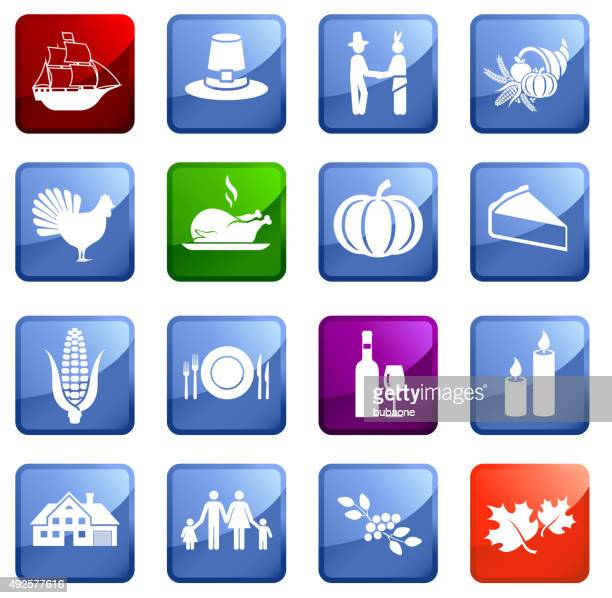 Thanksgiving icon set on white background.