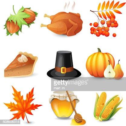 Ícones de Ação de Graças : Arte vetorial