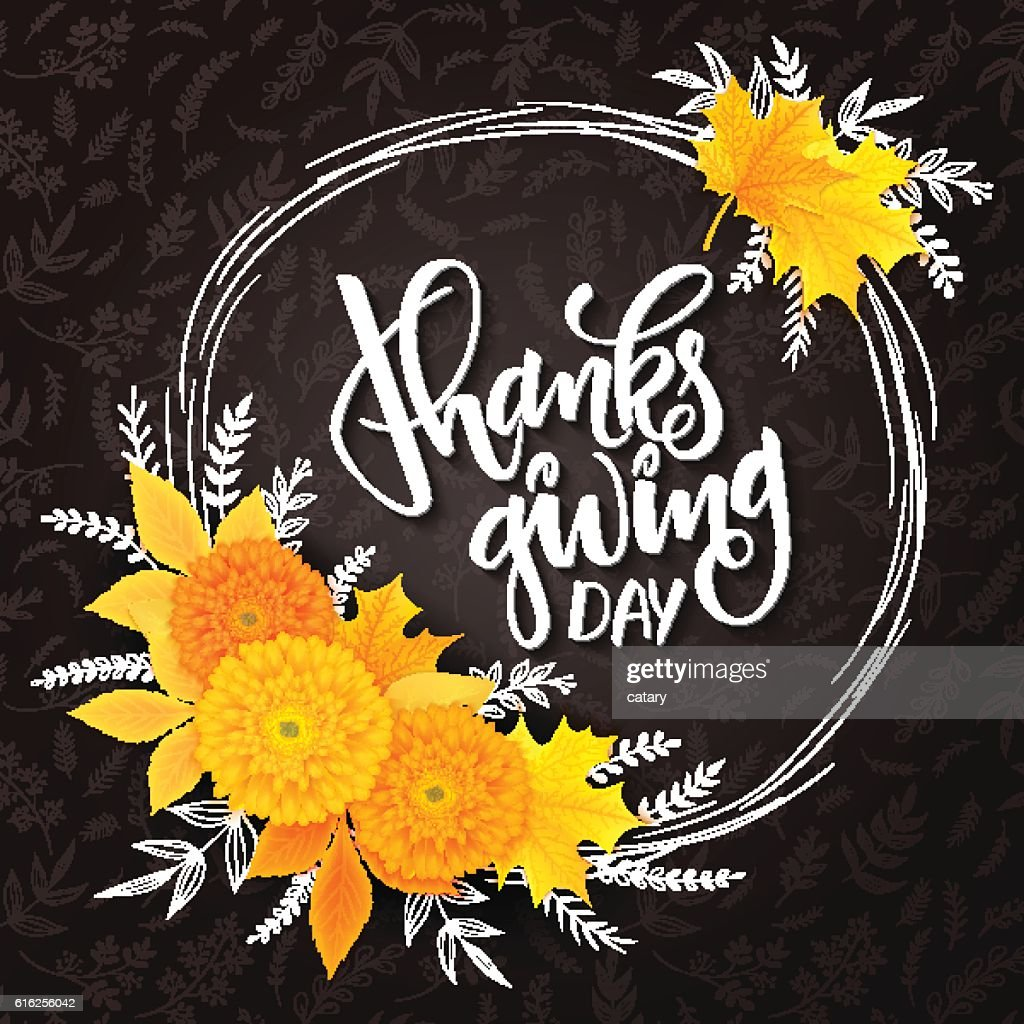 thanksgiving lettering with frame, chrysanthemum, doodle branches, and leaves : Arte vetorial