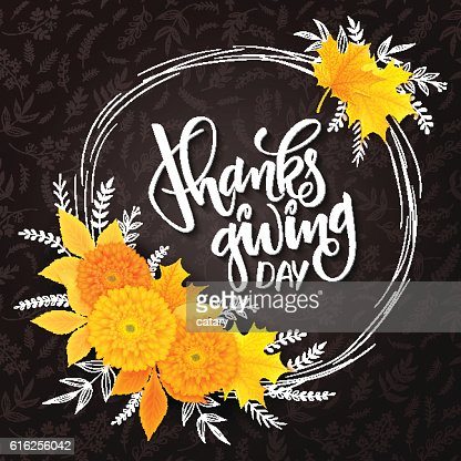 thanksgiving lettering with frame, chrysanthemum, doodle branches, and leaves : Vector Art