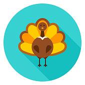 Thanksgiving Turkey Circle Icon. Vector Illustration. Fall Seasonal Holiday.