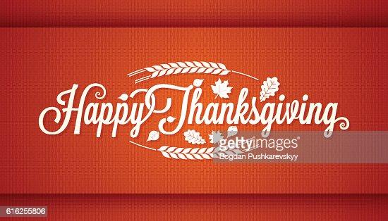 Thanksgiving vintage card lettering background : Vector Art