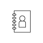 The address book icon. Element of mobile banking for smart concept and web apps. Thin line The address book icon can be used for web and mobile on white background
