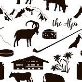 The Alps flat icons. hand drawn vector seamless pattern big set. Mountain Matterhorn, Alpine ibex, chalet, edelweiss flower, alpenhorn, chalet, goat, cow, chocolate, milk can, cheese mont blanc
