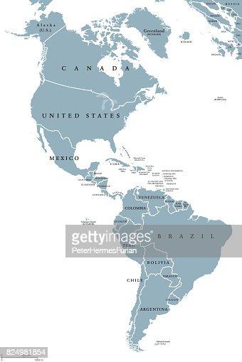 The Americas political map : stock vector
