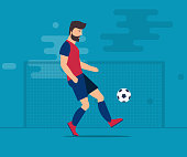 The bearded man plays football. Soccer ball Isolated vector illustration on a blue background.