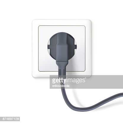 The black plug is plugged into the power lines. Plug inserted in a white wall socket. Icon of device for connecting electrical equipment. 3D illustration isolated on white background : stock vector
