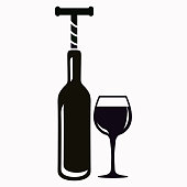 The bottle with the corkscrew and wineglass vector  icon.