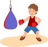 The illustration shows a boy who is engaged in boxing.