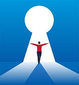 The businessman opens the door to success