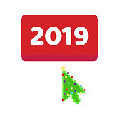 The button 2019 with arrow  cursor christmas tree pixel pointer push. Flat style design invitation to the xmas party or new year party or event postcard vector illustration isolated white background.