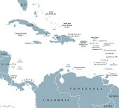 The Caribbean countries political map with national borders. The Caribbean Sea with Greater, Lesser and Leeward Antilles, with West Indies and parts of Central and South America. English labeling.