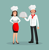 The chef is a man and a woman. Vector illustration of a flat design.