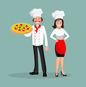 The chef is a man and a woman with pizza. The style is flat.