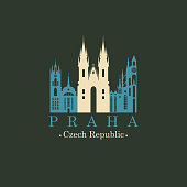 Travel vector banner or logo. The famous Church of Our Lady before Tyn in Prague, Czech Republic. Czech architectural landmark