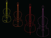 The line art illustration of violin, viola, violoncello, and double bass