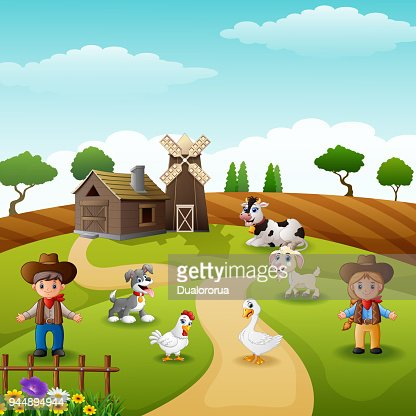 The cowboy and cowgirl at the farm with animals : Vector Art
