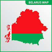 The detailed map of Belarus with National Flag