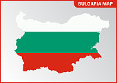 The detailed map of Bulgaria with National Flag