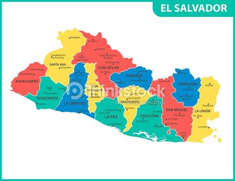 El Mapa Detallado Del Salvador Con Las Regiones O Estados Y Ciudades