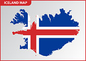 The detailed map of Iceland with National Flag