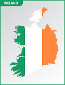The detailed map of Ireland with National Flag