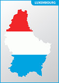 The detailed map of Luxembourg with National Flag