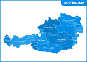 The detailed map of the Austria with regions or states and cities, capital