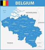 The detailed map of the Belgium with regions or states and cities, capitals.