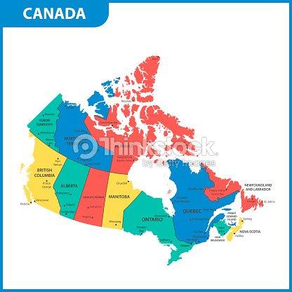 Carte Canada Avec Ville.La Carte Detaillee Du Canada Avec Des Regions Ou Des Etats Et Des