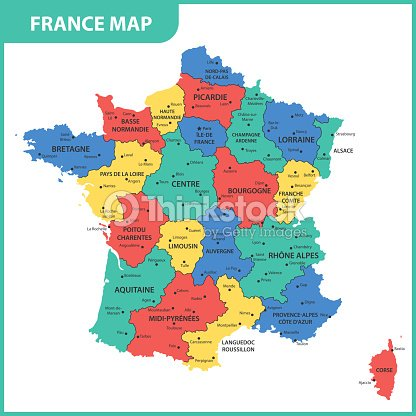 Cities Of France Map.The Detailed Map Of The France With Regions Or States And Cities